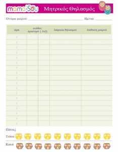 Δωρεάν εκτυπώσιμο Ημερολόγιο Μητρικού Θηλασμού