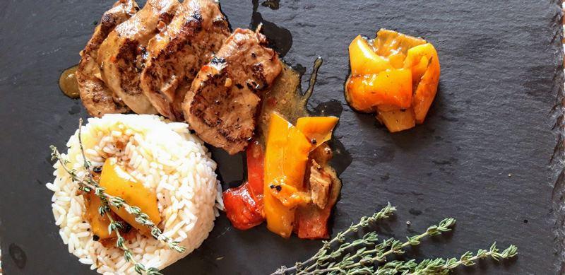 Ψαρονέφρι με λαχανικά, σόγια και μέλι