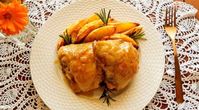 Κοτόπουλο με μπύρα,δενδρολίβανο και μέλι