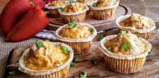 αλμυρά muffins με πιπεριά Φλωρίνης